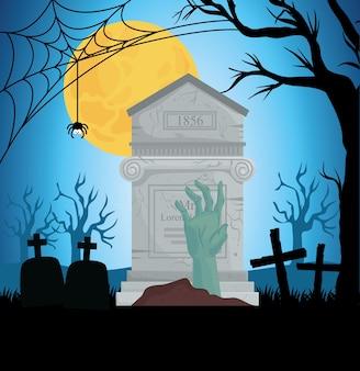 Banner de feliz halloween con lápida, mano zombie y luna llena en la escena del cementerio
