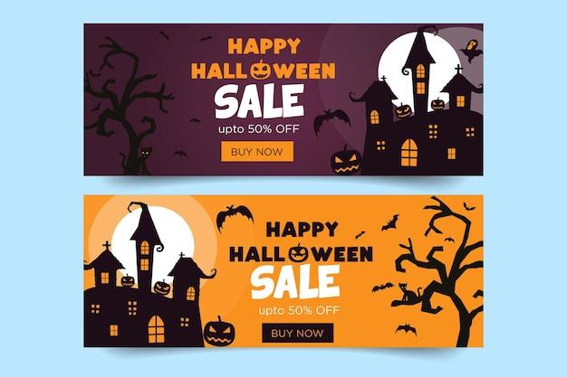 Banner de feliz halloween con murciélagos y árboles y calabazas