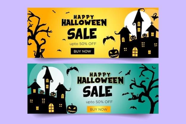Banner de feliz halloween y murciélagos y árboles y calabazas