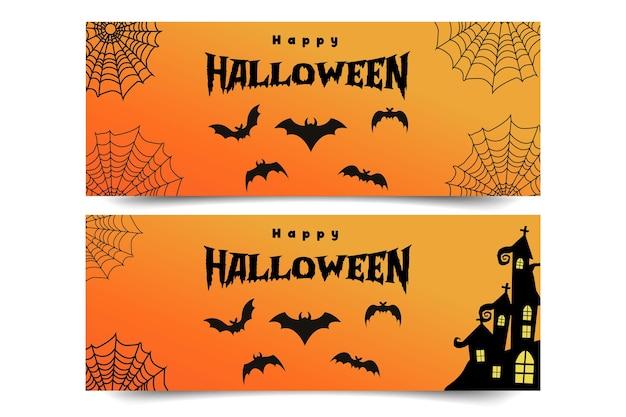 Banner de feliz halloween con murciélagos y telaraña y hermosa fuente