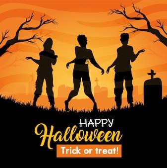 Banner de feliz halloween con silueta de zombies en cementerio