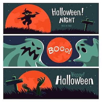 Banner de feliz halloween (truco o trato) con personajes