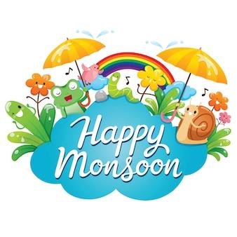 Banner de feliz monzón con personaje de dibujos animados, animales y naturaleza
