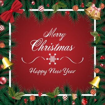 Banner de feliz navidad con adornos navideños, ramas de pino verde sobre fondo rojo