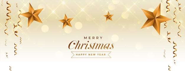 Banner de feliz navidad y año nuevo con estrella dorada y confeti
