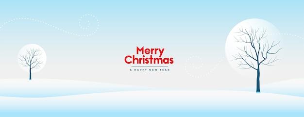 Banner de feliz navidad y año nuevo con hermoso paisaje nevado de invierno