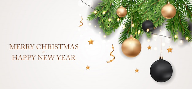 Banner de feliz navidad y año nuevo