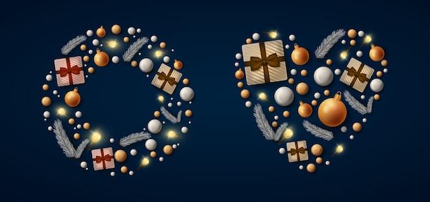 Banner de feliz navidad con árbol de pieles con bolas y regalos