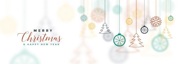 Banner de feliz navidad blanco con decorativos