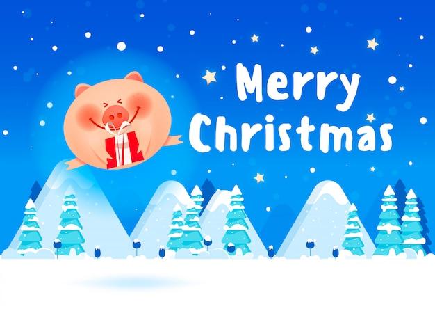 Banner de feliz navidad. cerdo de grasa con una caja de regalo