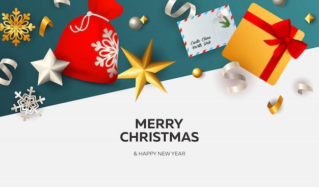 Banner de feliz navidad con cintas sobre fondo blanco y azul