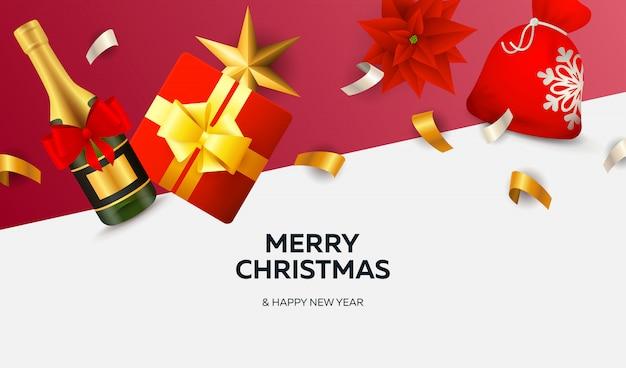 Banner de feliz navidad con cintas sobre fondo blanco y rojo