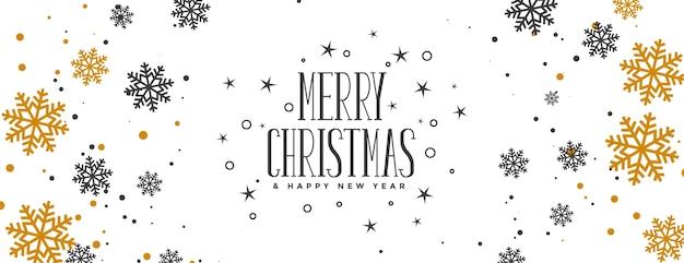Banner de feliz navidad con copos de nieve dorados y negros