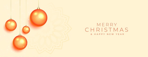 Banner de feliz navidad con decoración de adornos naranjas