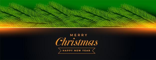 Banner de feliz navidad con decoración de pino