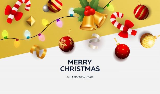 Banner de feliz navidad con decoración sobre fondo blanco y amarillo