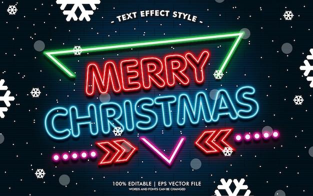 Banner de feliz navidad con efectos de texto de neón estilo