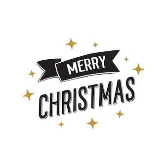 Banner de feliz navidad con estrellas doradas