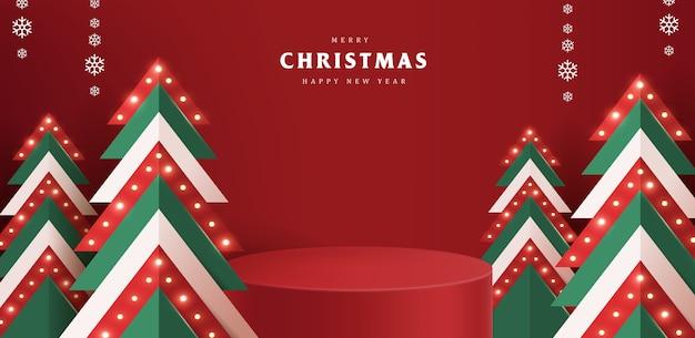 Banner de feliz navidad con exhibición de productos de forma cilíndrica e iluminación de árboles de navidad