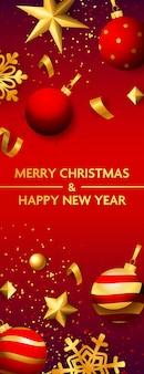 Banner de feliz navidad y feliz año nuevo con adornos