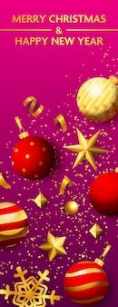 Banner de feliz navidad y feliz año nuevo con bolas