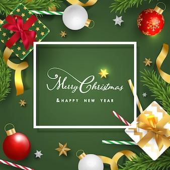 Banner de feliz navidad y feliz año nuevo con objetos festivos realistas