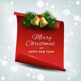 Banner feliz navidad y feliz año nuevo saludo fondo.