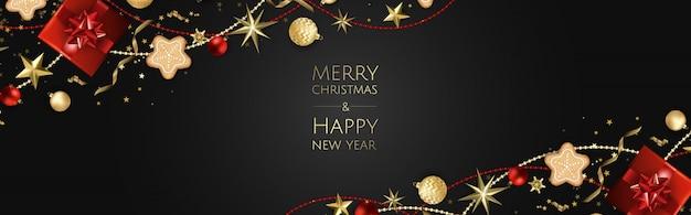 Banner de feliz navidad y feliz año nuevo
