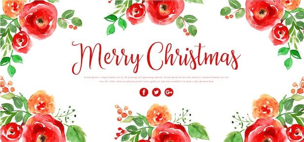 Banner de feliz navidad floral acuarela