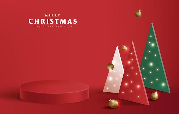 Banner de feliz navidad con forma cilíndrica de exhibición de productos
