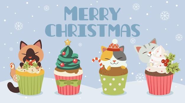 Banner de feliz navidad con gatos y cupcakes