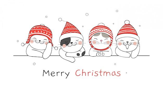 Banner de feliz navidad con gatos