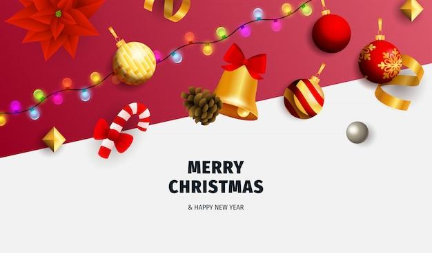 Banner de feliz navidad con guirnalda sobre fondo blanco y rojo
