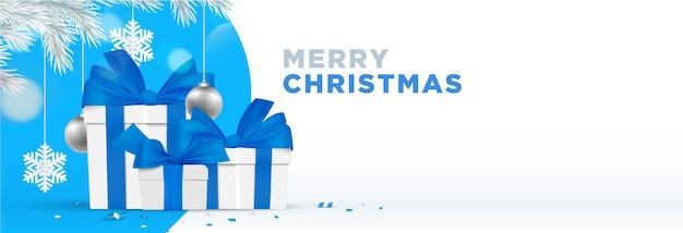 Banner de feliz navidad. ilustración de navidad de tema de invierno azul realista
