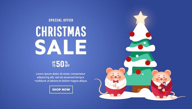 Banner de feliz navidad con lindas ratas con regalos y pino