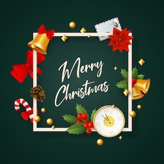 Banner de feliz navidad en marco con decoración en tierra verde