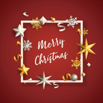 Banner de feliz navidad en marco con estrellas sobre fondo rojo