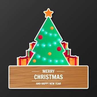 Banner de feliz navidad moderno
