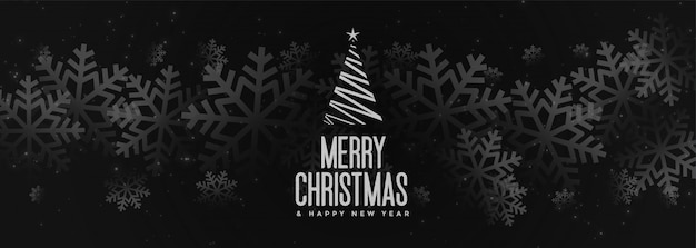 Banner de feliz navidad negro con copos de nieve