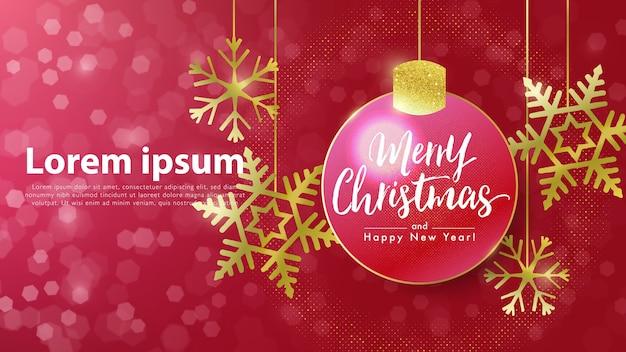 Banner de feliz navidad y próspero año nuevo con bola de navidad