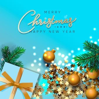 Banner de feliz navidad y próspero año nuevo. diseño navideño de guirnalda de luces brillantes, con caja de regalos realistas, rama de pino verde, confeti dorado brillante. cartel de navidad, ilustración.