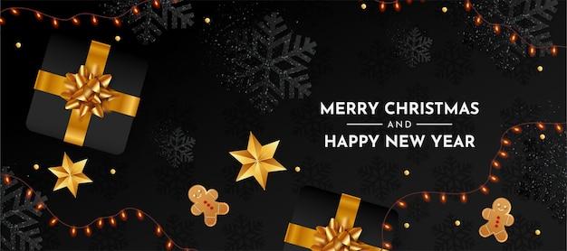 Banner de feliz navidad y próspero año nuevo con elementos navideños realistas