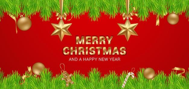 Banner de feliz navidad y próspero año nuevo de lujo con objetos decorativos dorados en fondo rojo