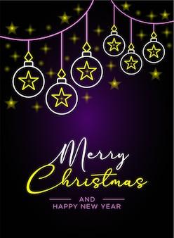 Banner de feliz navidad y tarjeta de póster con adornos navideños