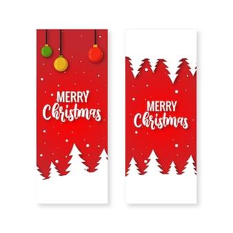 Banner de feliz navidad vertical con fondo rojo