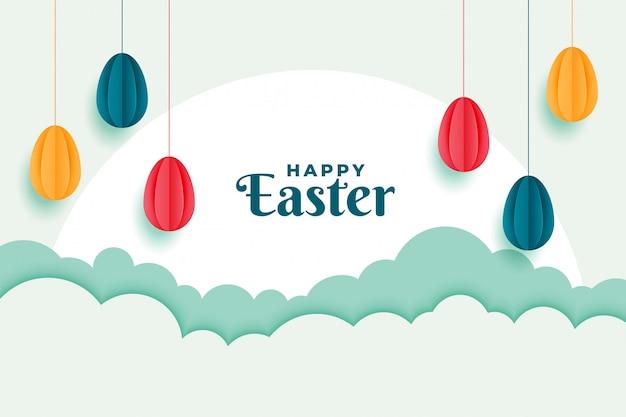Banner de feliz pascua con diseño de decoración de huevos