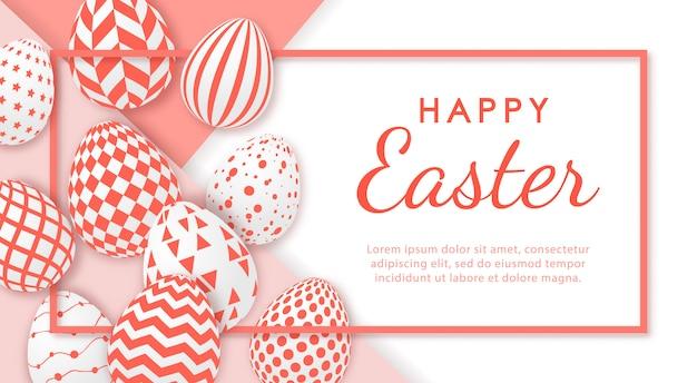 Banner de feliz pascua con huevos realistas y espacio para texto.