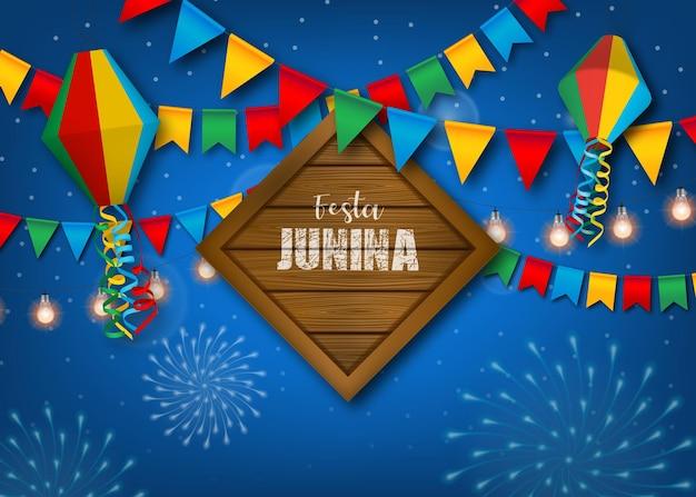 Banner de festa junina con banderines de colores y globos
