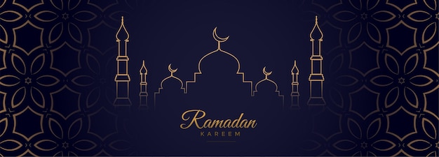 Banner del festival árabe ramadan kareem en estilo de línea