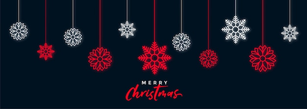Banner de festival de copos de nieve de navidad oscura decorativa